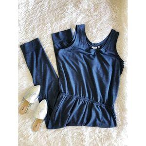 LOGO LOUNGE blue french terry sleeveless jumpsuit